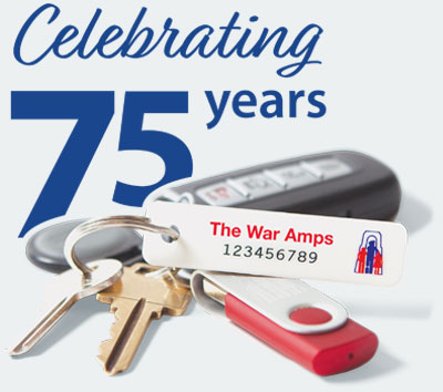 A set of keys with a War Amps key tag attached. Order key tags.